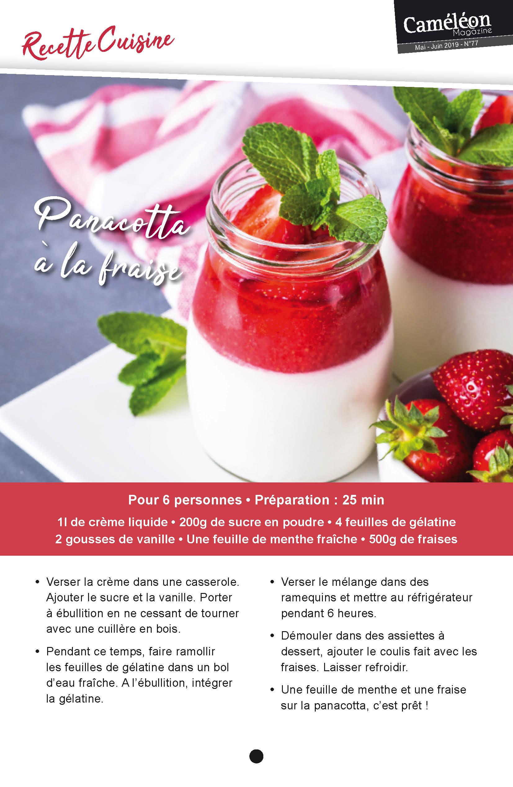Recette Recette panacotta à la fraise
